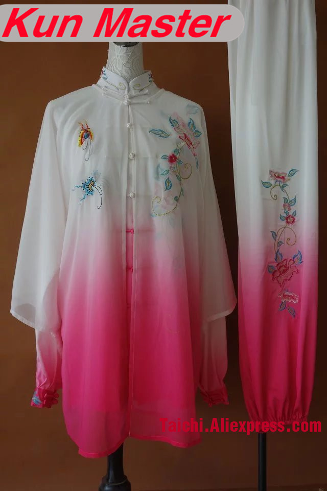 Custom Performance White Pink Gradual Change Color Tai Chi Uniform Flower Embroidery  Martial Art Clothing For Kung Fu