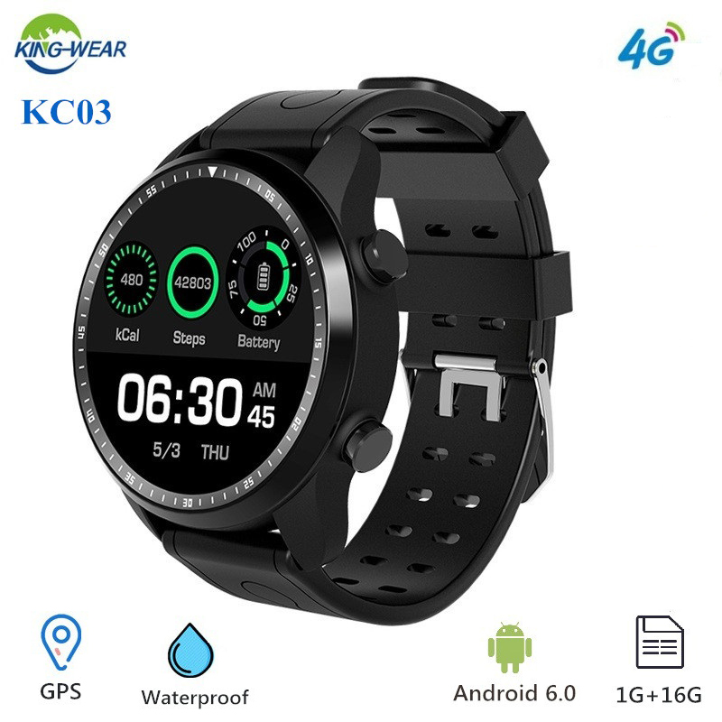 KingWear KC03 4G montre intelligente hommes Android 6.0 GPS 1.3 pouces MTK 6737 1.2 GHz 1 GB RAM 16 GB ROM 620 mAh podomètre Sport montre intelligente