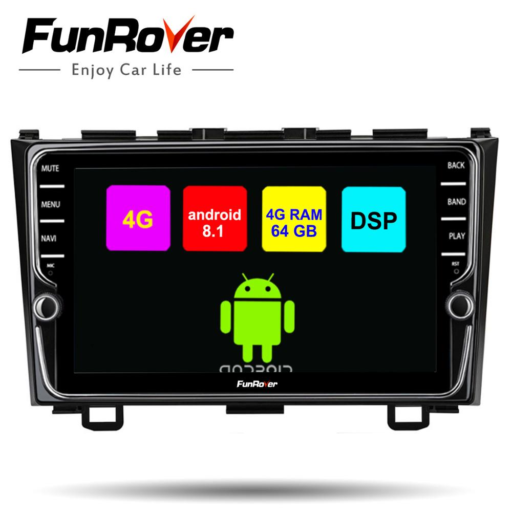 Lecteur multimédia dvd de voiture Funrover 8 cœurs Android 8.1 pour Honda CRV 2006-2011 autoradio stéréo gps navi DSP 4G 64G LTE