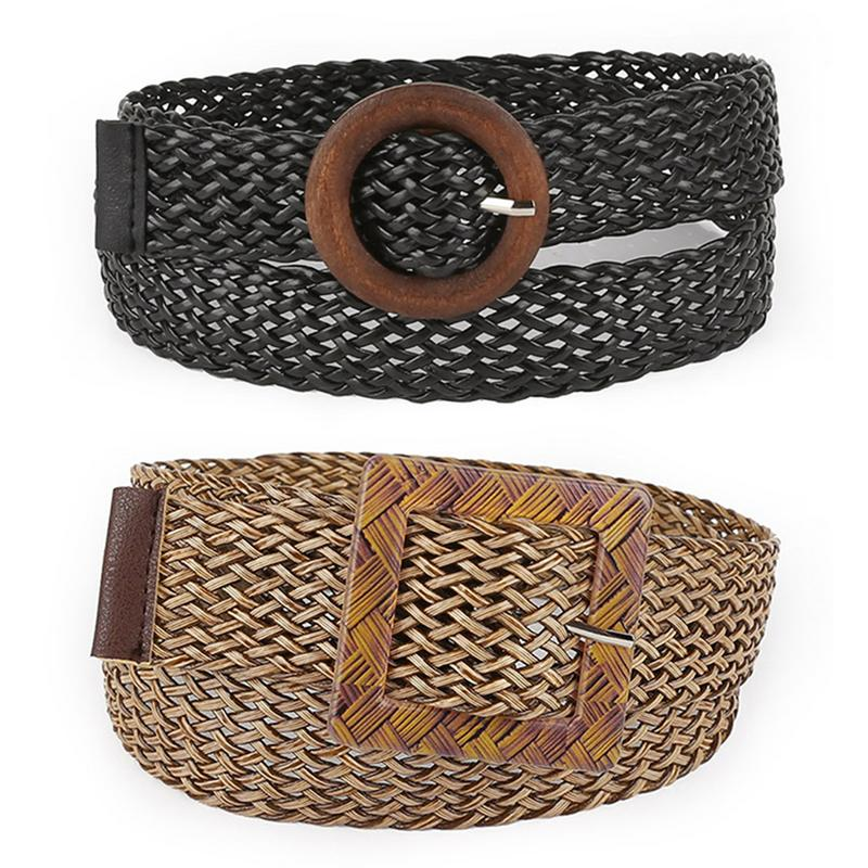 Hollow Straw Shape Hand Woven Women   Belt   Decoration Ethnic Fashion Vintage Round Buckle Wild Dress Accessories Waistband   Belts