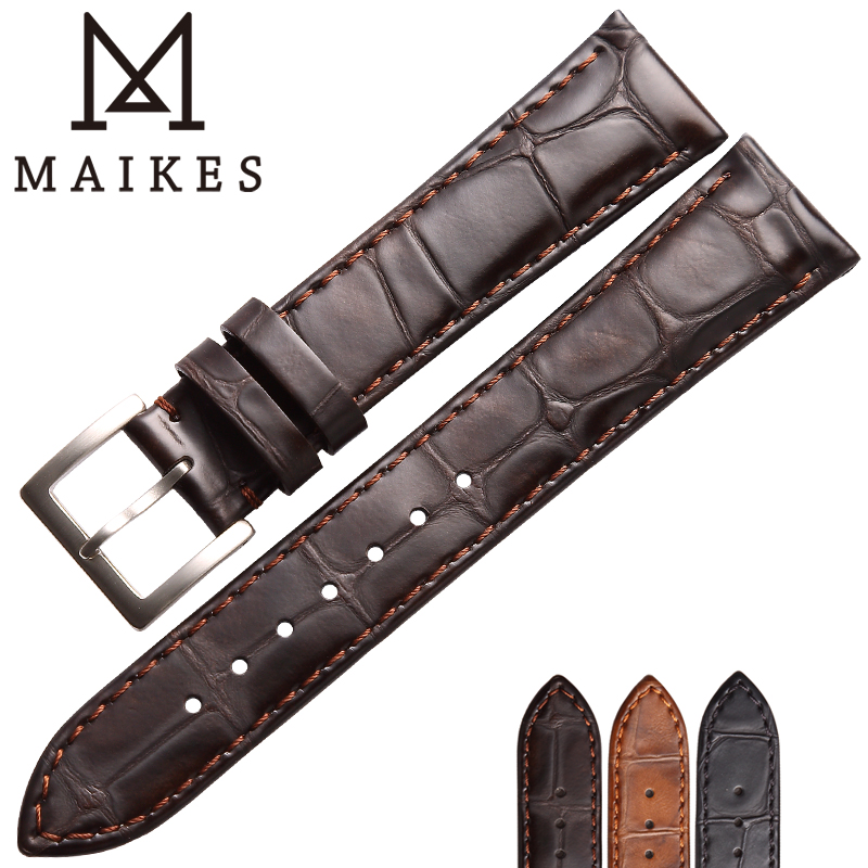 MAIKES Watch Accessories Genuine Leather Strap watchband Watchbands 18mm 19mm 20mm 22mm Soft Replace Watch Bracelets Band maikes good quality genuine leather watchband 19mm 20mm 22mm browm watch strap bracelet watch accessories for tissot watch band