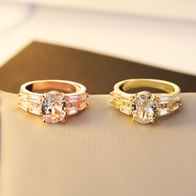 Casual 14K Rose Golden Square Princess Ring Amethyst Anillos De Diamante Bizuteria Sliver S925 Diamond Ring for Bague Women Ring vintage chic diamante solid rose embellished alloy ring for women