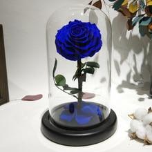 Стеклянная крышка свежая консервированная роза цветок колючая Роза Флорес для свадьбы свадебные вечерние украшения подарок на день Святого Валентина Blu