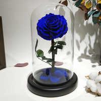 Cubierta de cristal flor de Rosa fresca conservada con púas Flores de rosa para boda matrimonio fiesta en casa decoración regalo de San Valentín Blu