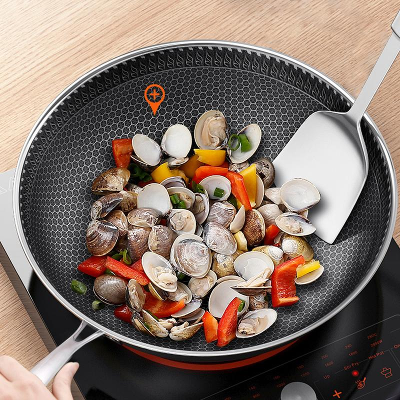 304 Three - Layer Stainless Steel Wok No Oil Smoke Non - Stick Pan Flat Bottom Home Cooking Pot Gas Cooker Universal