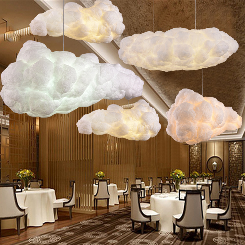 New creative fashion cloud chandelier, simple personalized restaurant lights, cotton lanterns, decorative black clouds xl7215 personalized decorative color feather creative wallpaper