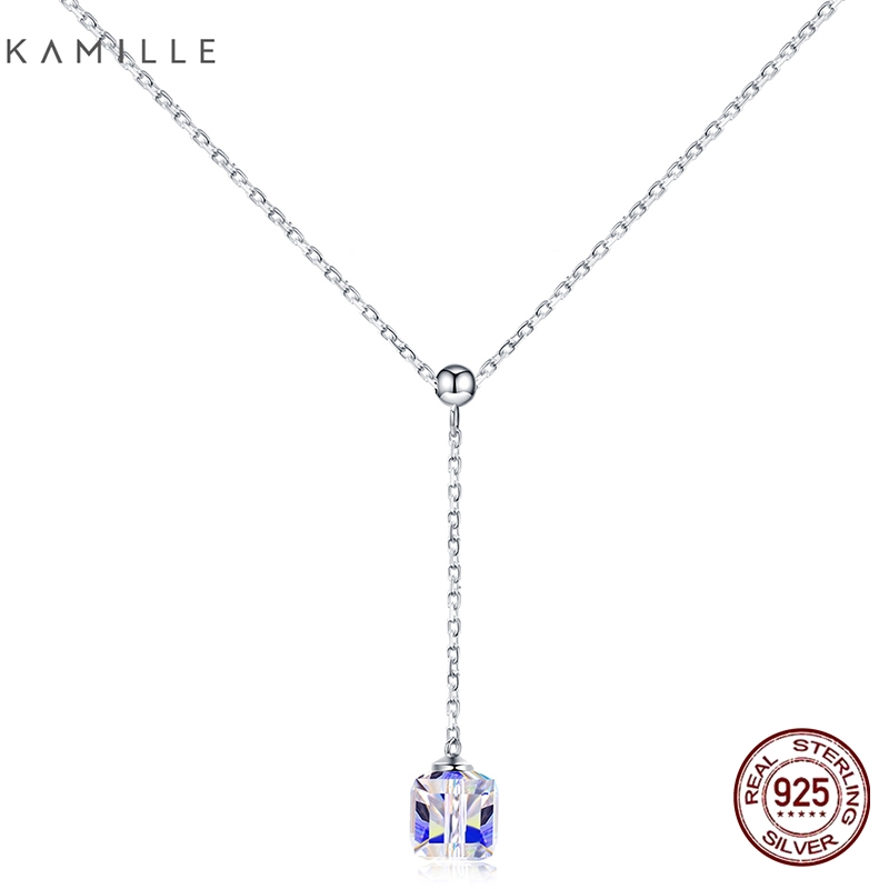 Kamille 925 Sterling Silver Necklace Quick Chain With Regulate Dice Crystal Pendant Necklace High-quality Jewellery Valentine's Day Present Necklaces, Low cost Necklaces, Kamille 925 Sterling Silver Necklace Quick Chain...
