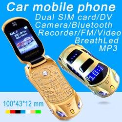 مصباح يدوي من Newmind F15 قلّاب غير مقفول MP3 MP4 FM بشريحتين هاتف محمول صغير للغاية طراز P431