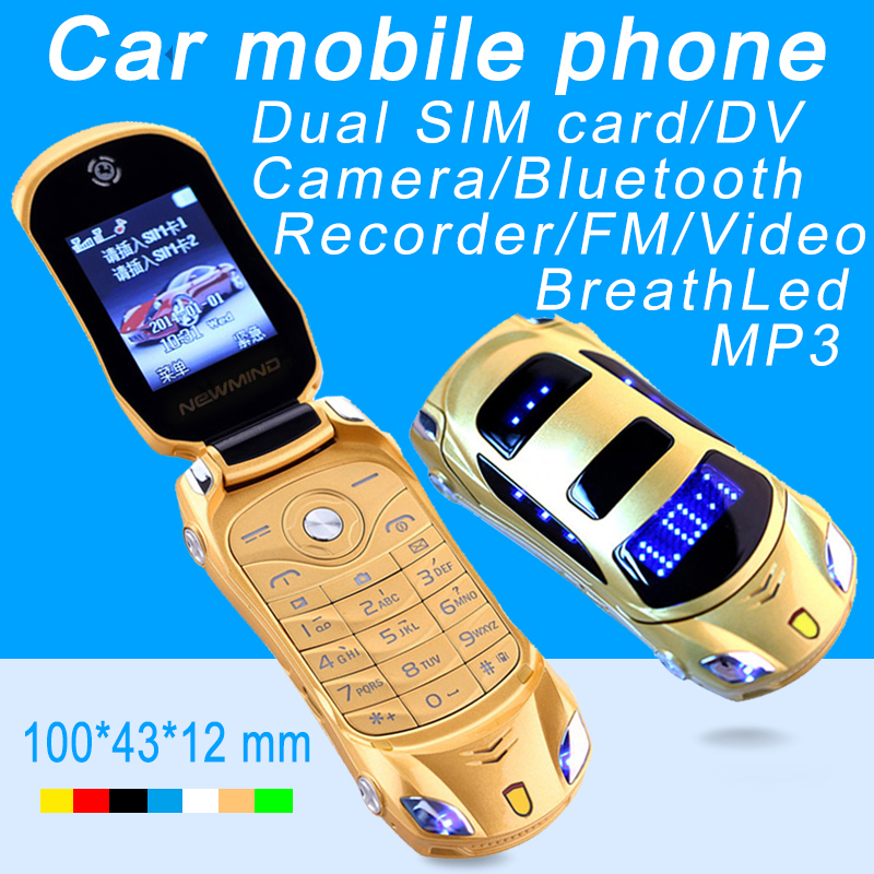 Newmind F15 Flip Unlocked MP3 MP4 FM Flashlight Dual SIM Cards Super Small Car Model Mini Mobile Cell Phone P431