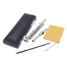 Piccolo Ottavino flauto di mezza dimensione placcato argento chiave C cupronichel con panno di pulizia cacciavite scatola imbottita