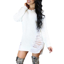 e4e6f4f979 Womens Long Sleeve Sweater Mini Jumper Winter Dress Knitted Baggy Party Fit  Tops Casual Sweater Mini