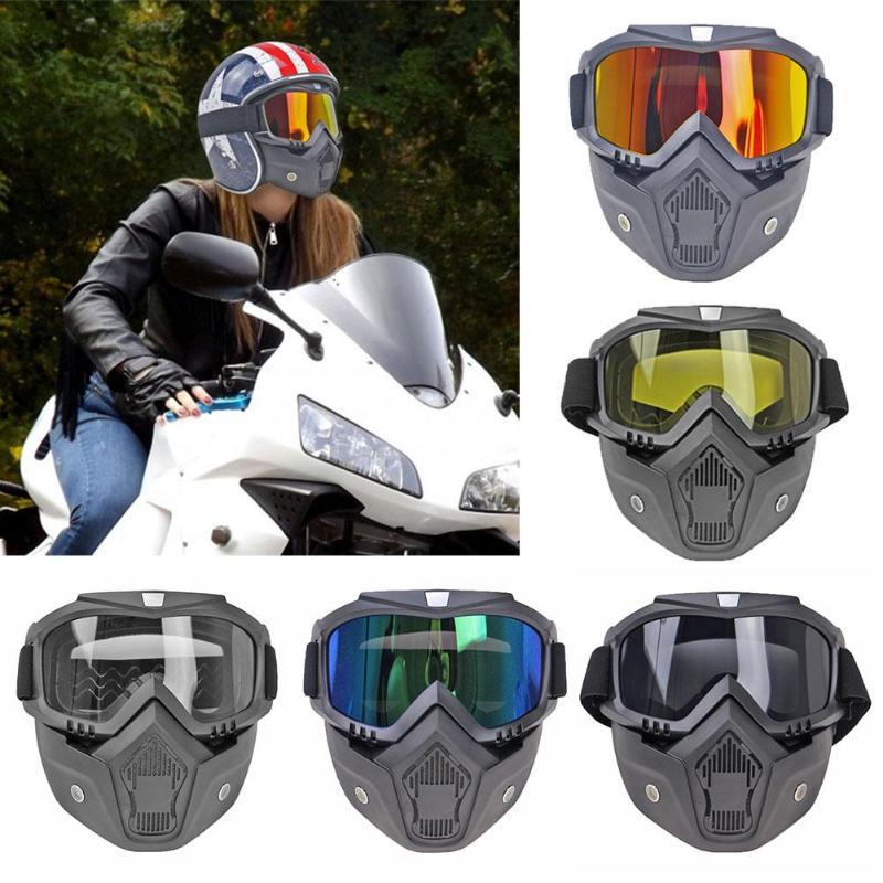 Bicycle Helmet Motorcycle Detachable Mask Anti-uv Goggles Off Road Helmet Ski Sport Racing Motocross Goggles Glasses Bicycle Accessories