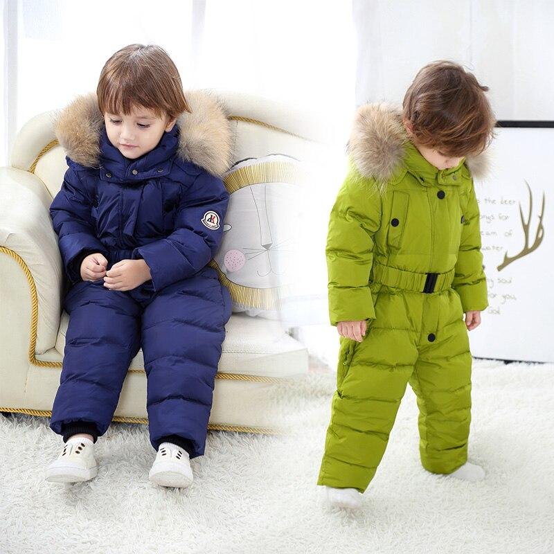 Зимние комбинезоны для детей, комбинезон на пуху, верхняя одежда для мальчиков и девочек, Рождественский детский комбинезон с натуральным м
