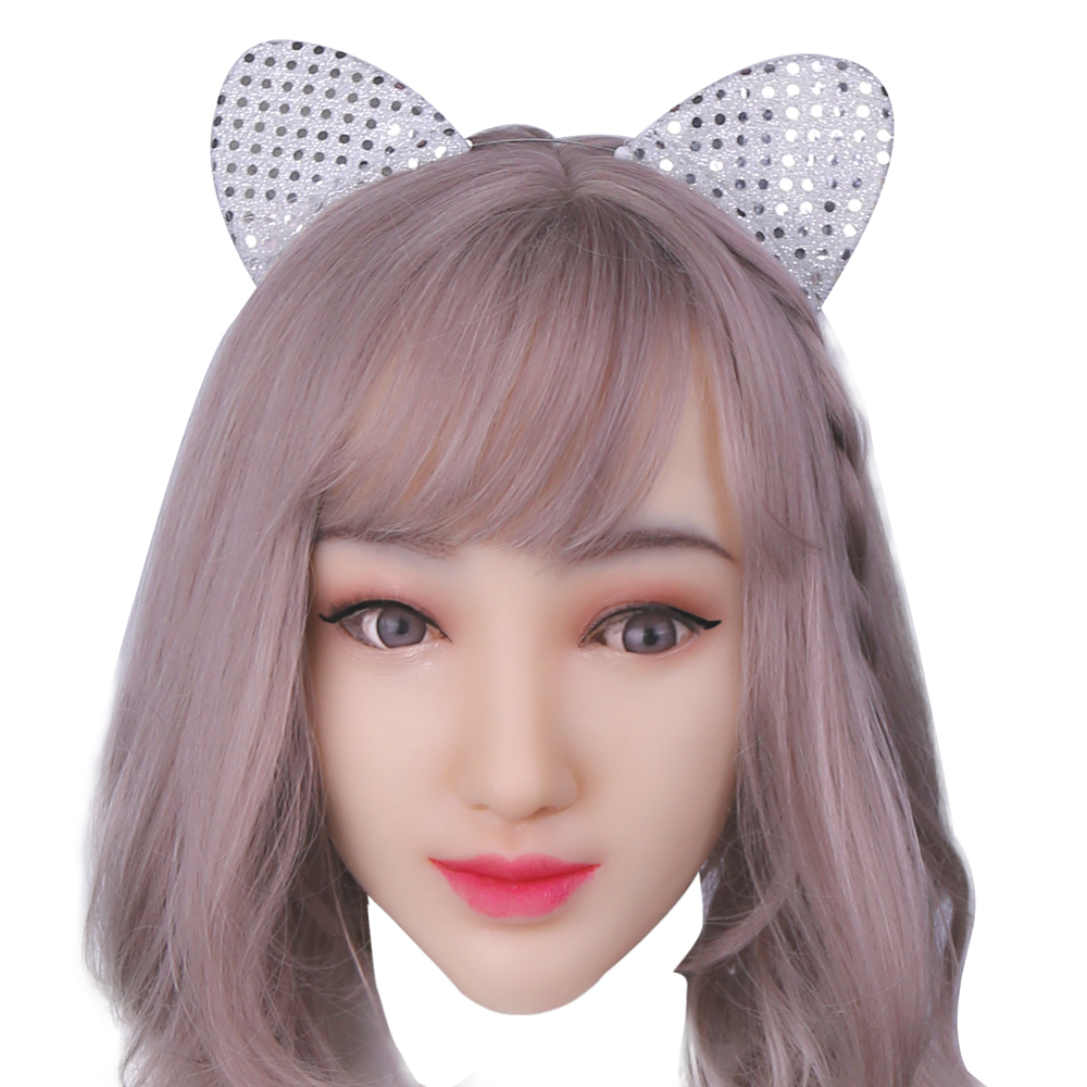 KOOMIHO Soft Silicone Realistic Female Head Mask Handmade Makeup Mask Crossdress Cosplay Mask Transgender Halloween Mask