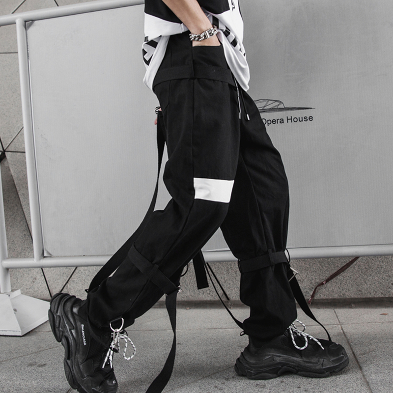 2019 spring and summer men's casual straight pants dark national tide Japanese night show costume harem pants