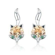 925 Sterling Silver Cute Crystal Fox Stud Earrings for Women Animal fox Fashion Jewelry SCE527
