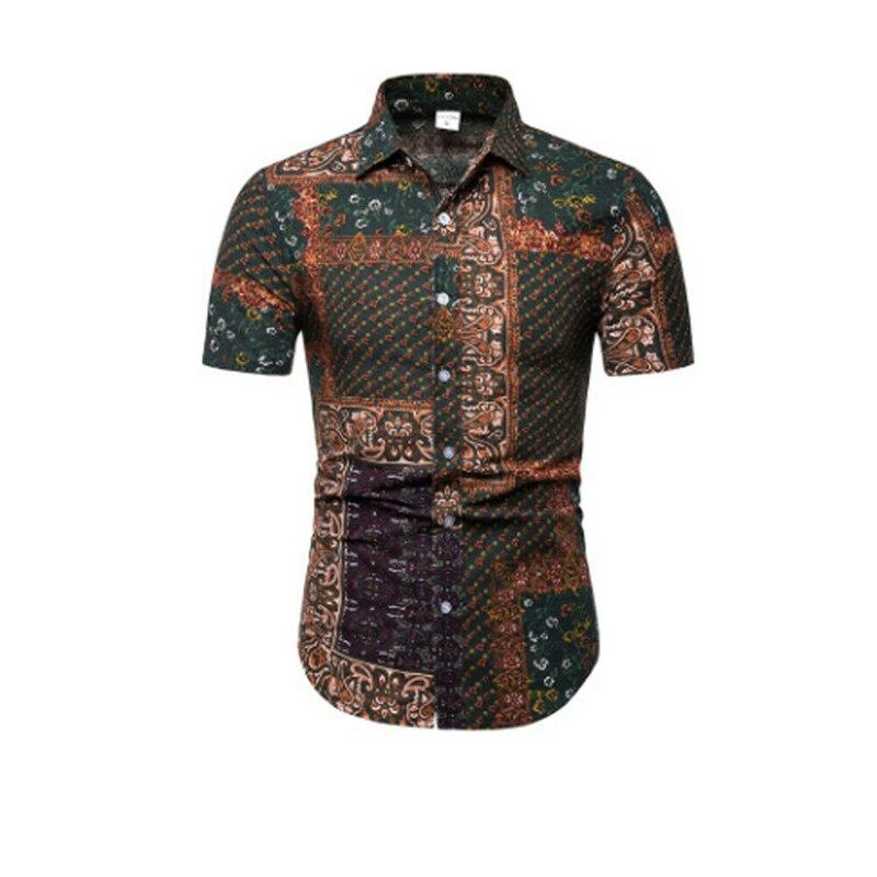 Fashion Casual Floral Print Button Down Short Sleeve Men's Shirt Slim Fit Top US