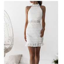 Vintage Sleeveless Hollow Out Lace Dress Women Elegant Summer Party Beach Sexy Vestidos Robe