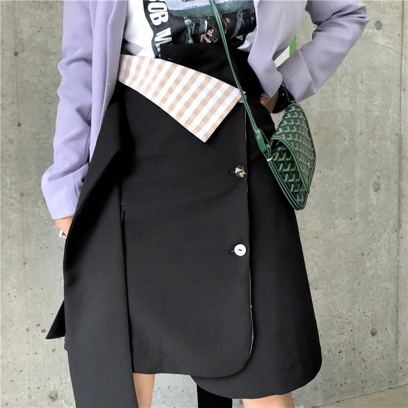 DEAT 2019 New Spring Fashion Women Clothing Half body Skirt Woman Irregular Asymmetrical Design A line