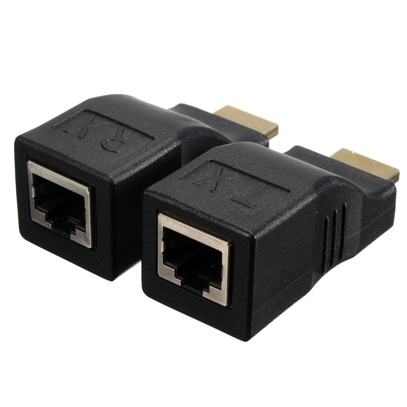 1 Paar 1080 P Hdmi Extender Zu Rj45 Über Cat 5e/6 Netzwerk Lan Ethernet Adapter