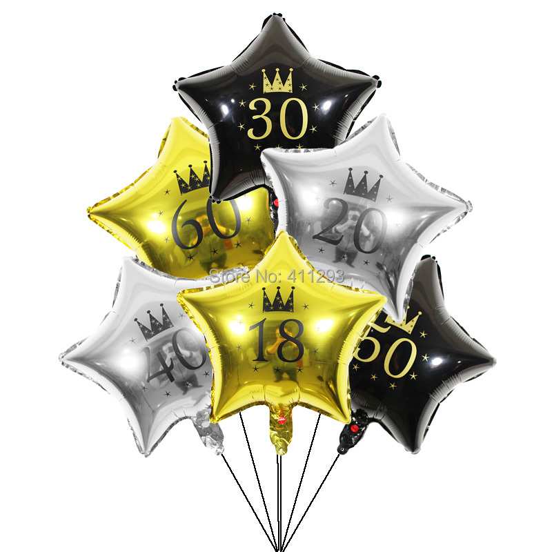 3pcs/lot 30th <font><b>birthday</b></font> balloon 16 18 20 21 30 40 50 60 <font><b>70</b></font> 80th <font><b>birthday</b></font> <font><b>party</b></font> decorations black gold silver anniversary balloons image