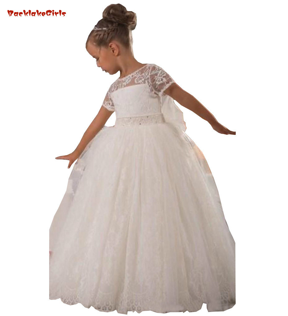 Hot Sale Vintage Princess   Flower     Girl     Dresses   A Line Sheer Beauty Neckline Short Sleeves High Quality Lace   Girls  '   dress