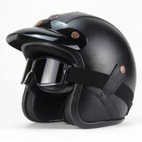 Protective Retro Style Motorcycle Helmet With Removable Glasses And Leather Shell Ultraviolet Proof Anti Fog Scratch Resistant