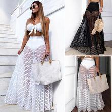 hirigin Women's Sexy See-through High Waist Polka Dot Mesh Skirt Femme Full Length Chiffon Tulle Beach Long Maxi Skirt Summer недорого