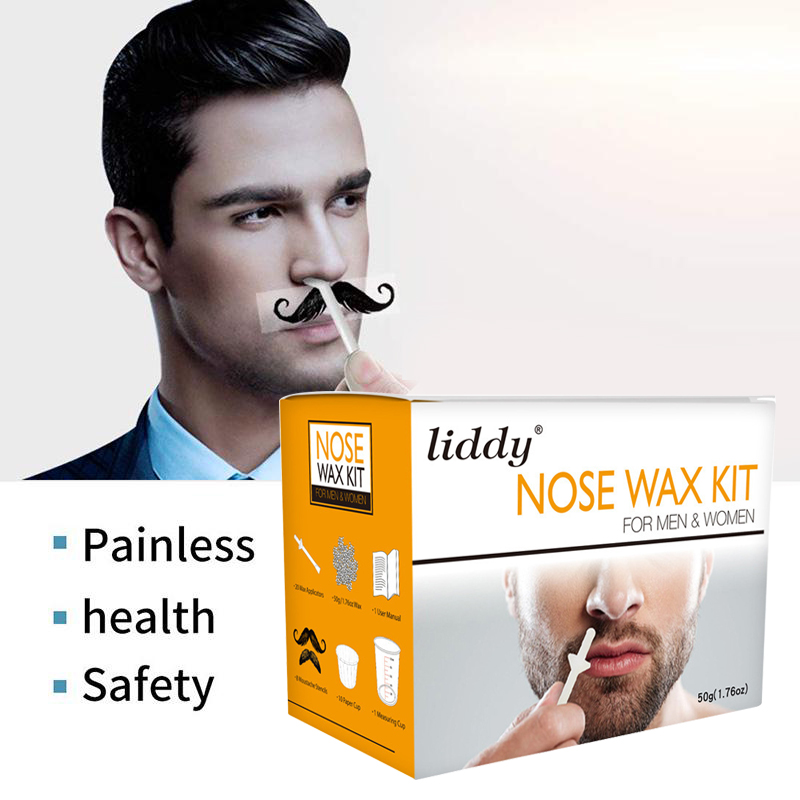 Portable Men's Wax Kit 50g Nose Ear Wax Painless Beans Kit Measuring Cup Moustache Stencils Hair Removal Cosmetic Tool TSLM1