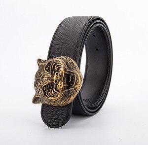 Image 3 - Ремень с головой тигра мужской, кожаный пояс в Западном ковбойском стиле, металлическая пряжка, подарок для мужчин
