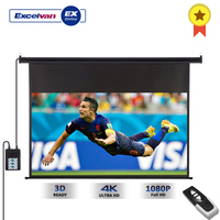 Excelvan 100 Inch Projector Screen 16:9 1.2 Gain Wall Ceiling Electric Motorized HD+ Remote Control Electric Projection Screen
