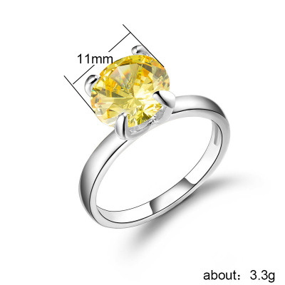 Huitan Fashion Solitaire Wedding Bands With Brilliant Crystal Prong Setting Simple Stylish Wedding Engagement Ring For Women in Engagement Rings from Jewelry Accessories