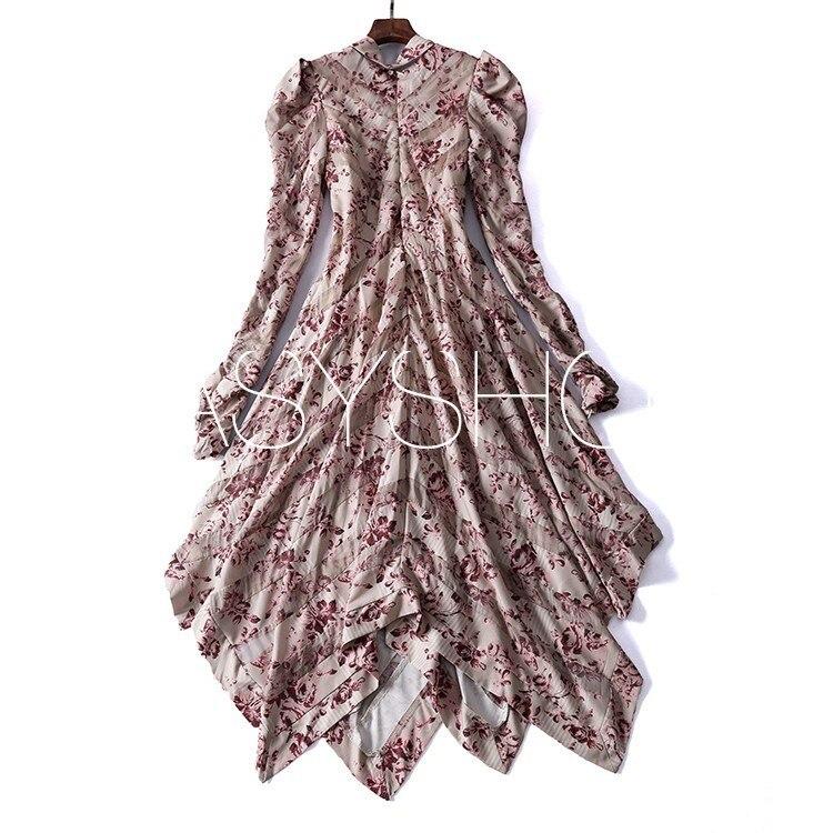 Kadın Giyim'ten Elbiseler'de 8030 100% Ipek 2019 Bir elbise derin v yaka ve dantel, ile düzensiz, gevşek desen Ipek'da  Grup 1