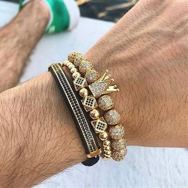 3 unids/set Hip Hop corona de oro pulseras 8 MM cúbicos Micro Pave CZ bola encanto trenzado hombre joyas de lujo pulseira Bileklik