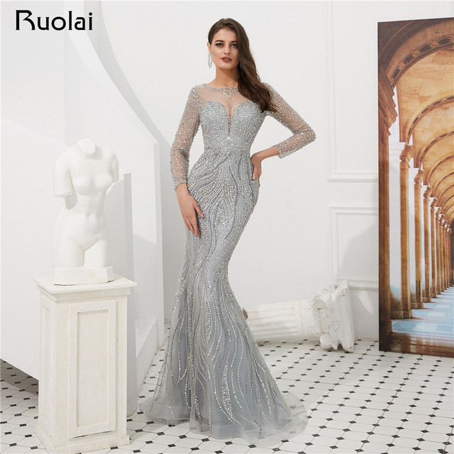 Luxury Mermaid Evening Dress Long Sleeves Scoop Sparkly Prom Dress 2019 2 Colors Evening Gown Vestido de Fietsa SN6