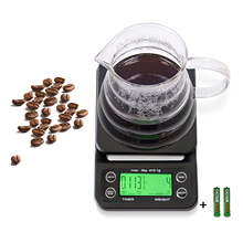 Coffee Scale with Timer 0.1g Precision Sensors, 6.6lb/3kg Food Scale and Timer Batteries Included, Black with Green Backlit