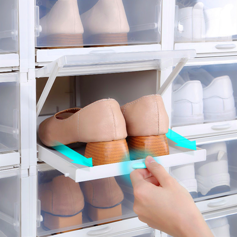 New Drawer Push Pull Shoe Box Sneakers Organizer Storage High Heel Plastic Container Can Rangement Superimposed Household Items Storage Boxes & Bins     - title=