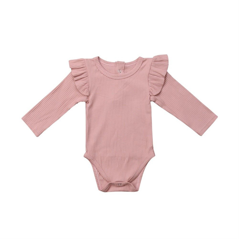 Newborn Kids Baby Girls Infant Bodysuit Solid Cotton Ruffles Bebe Leotard Body Tops Baby Clothing