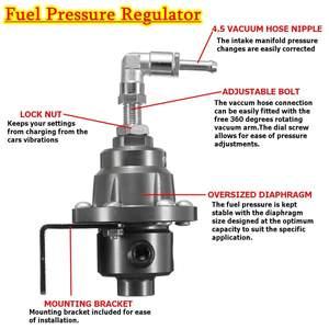 Image 4 - Universal Adjustable Aluminum Fuel Pressure Regulator With Gauge Kit Black Titanium Red Gold Silver Blue