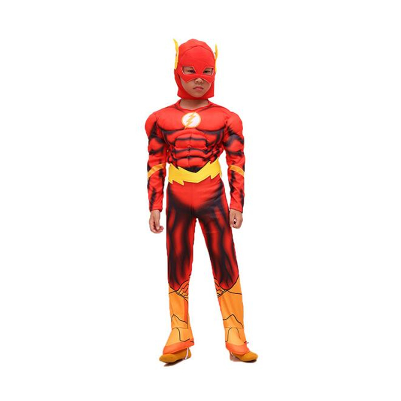 The Flash Cosplay Costume For Kids Halloween Carnival Purim Festival Party Children Superhero Muscle Clothing