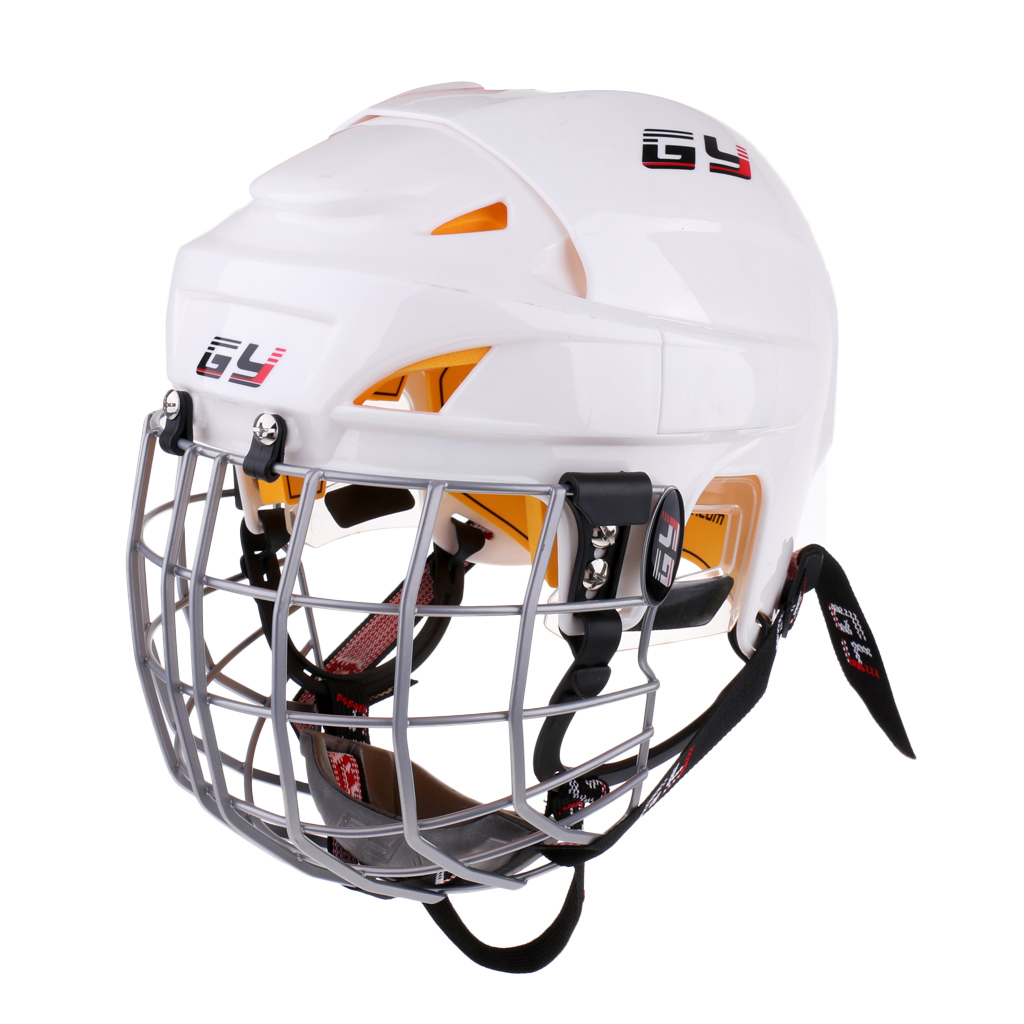 Ice Hockey Helmet Soft EVA Liner with Steel Cage HECC/CSA/ CE Player Face Shield by Combo Guard Mask