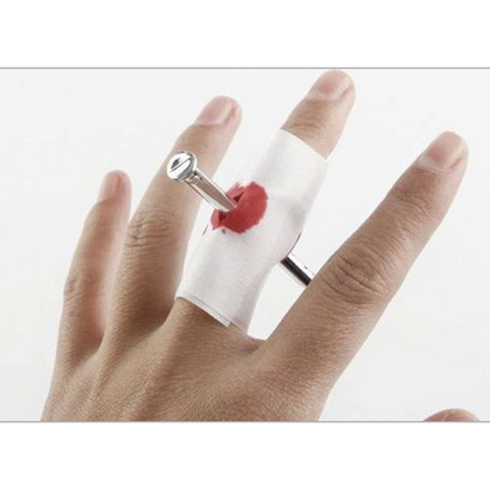 New Prank Joke Toy Fake Nail Through Finger With Bandage Scary Game April Fool Trick Prop Scary Toy Halloween Jokes image