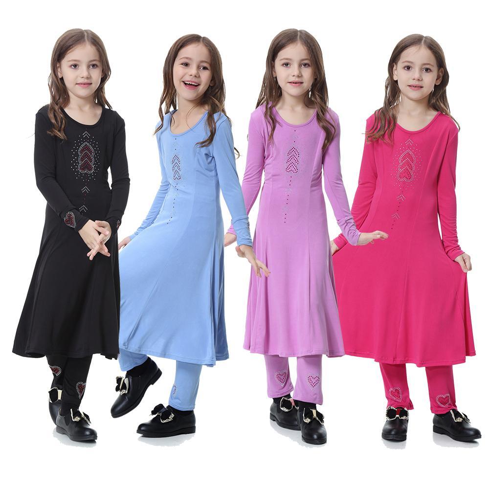 Girls Maxi School Dress Kids Black Printed Long Sleeve Holiday Abaya Islamic