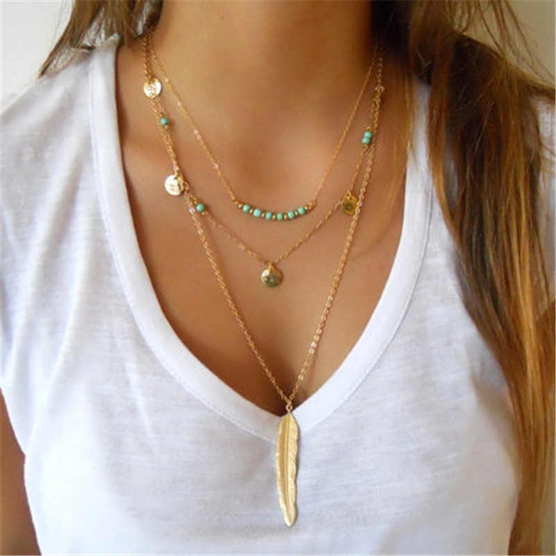 2019 New Hot Fashion Round Sequins Feather Leaves Long Multilayer Necklace Bohemian Beaded Chokers Necklaces For Women Jewelry