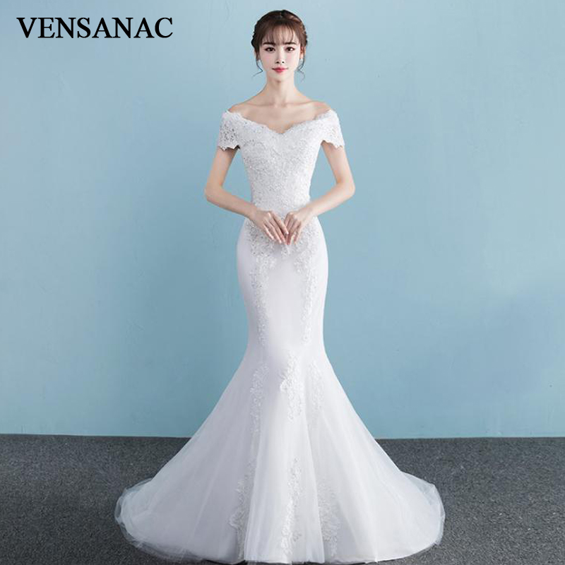 VENSANAC Sequined V Neck Lace Appliques Mermaid Wedding Dresses Short Sleeve Sweep Train Backless Bridal Gowns