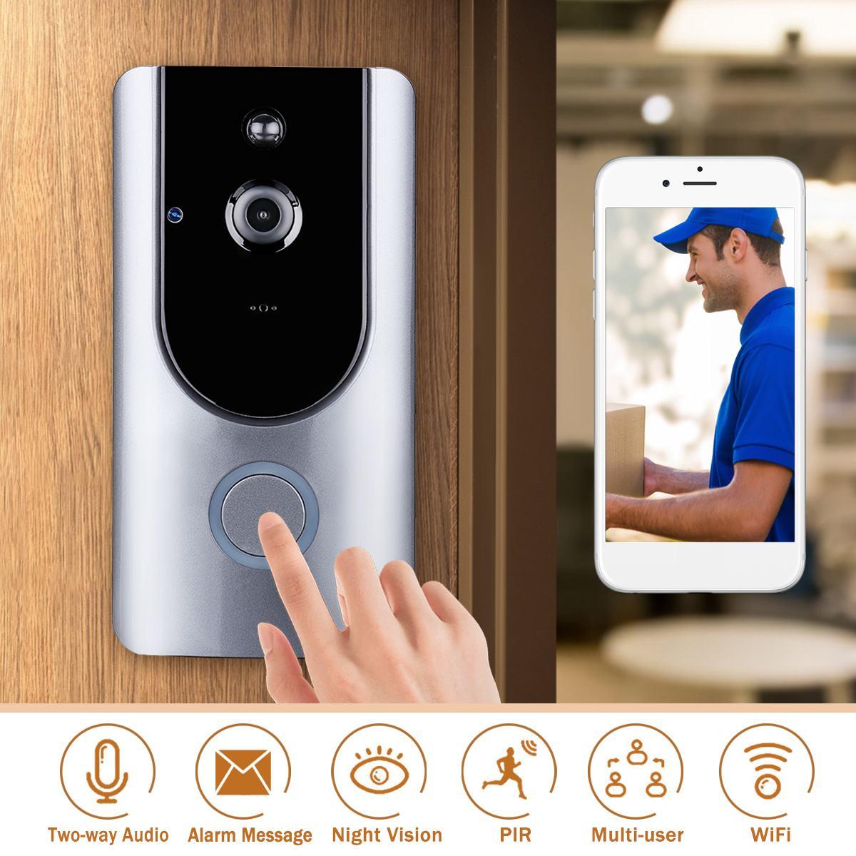 все цены на Wireless Control WIFI Doorbell Video Phone Controller HD PIR Doorbell Intercom Alarm Security Camera Outdoor Two Talk Doorbell онлайн