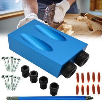נגרות כיס חור לנענע ערכת 6/8/10mm זווית תרגיל מדריך סט חור אגרופן איתור לנענע תרגיל קצת סט עבור DIY נגרות כלים