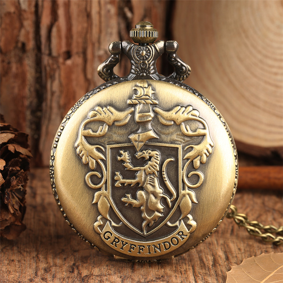 Vintage Gryffindor Theme Fob Pocket Watch Retro Bronze Full Hunter Roman Numerals Diaplay Pendant Watch For Men Women Reloj Gift