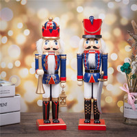 New Vintage Decorative Wooden Christmas Nutcracker Soldier 38cm 15 inch Tall Handcrafted Toy Christmas Holiday Gift for Child