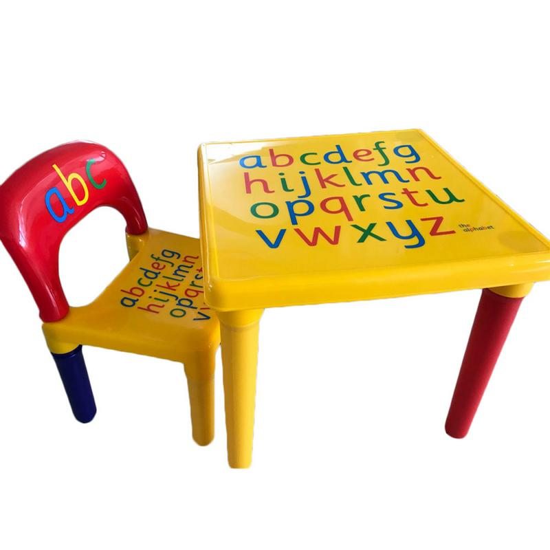 Children Letter Table Chair Set Yellow & Red Durable And Non-toxic It Is A Good Gift For You To Send To Your Kids